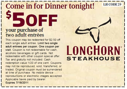 image regarding Longhorn Coupons Printable identified as Texas longhorn steakhouse discount codes : Rv in addition coupon codes