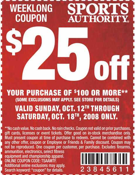 Sports authority coupons 2019