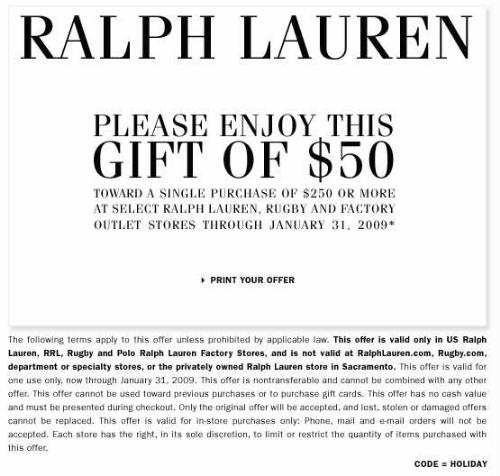 polo ralph lauren coupons. Black Bedroom Furniture Sets. Home Design Ideas