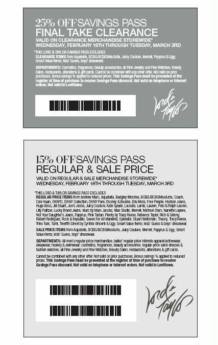 LORD AND TAYLOR COUPONS ONLINE