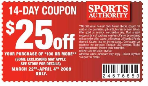 Sports Authority : $25 Off of $100 Purchase (03/24 - 04/04): 14 Day coupon