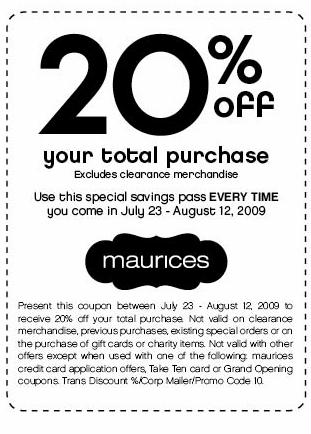 In store clothing coupons