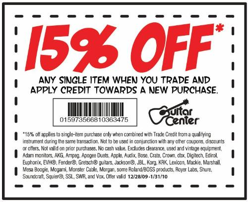 guitar center 20 off coupon